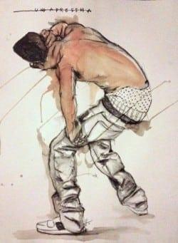 "Fahamu Pecou: ""Unda Pressha,""  2013. Graphite and acrylic on paper."
