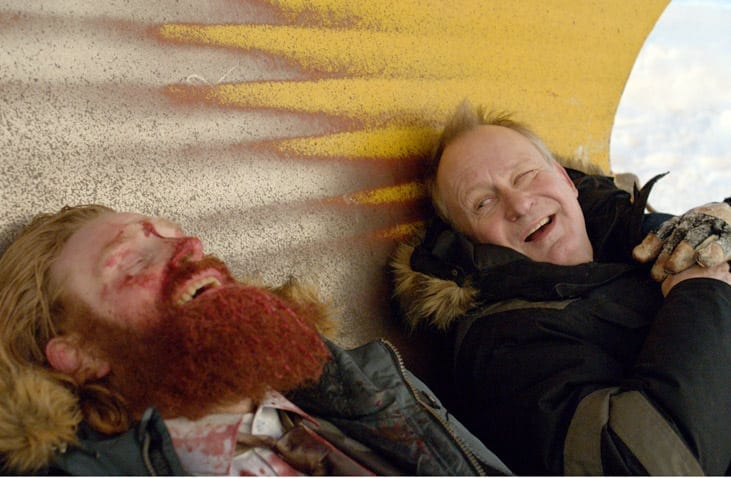 Stellan Skarsgård (right) in the black humor of In Order of Disappearance.