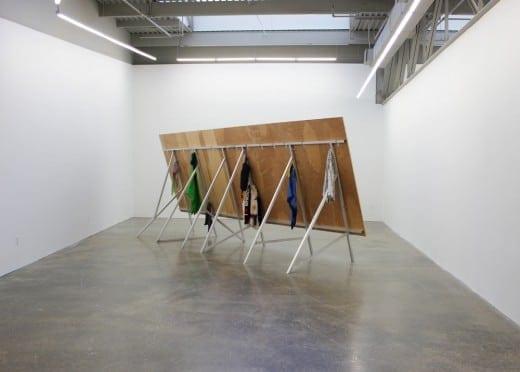 Anna K.E. Lucky Weekend, 2013, wood, tile, aluminum, clothes, paper.