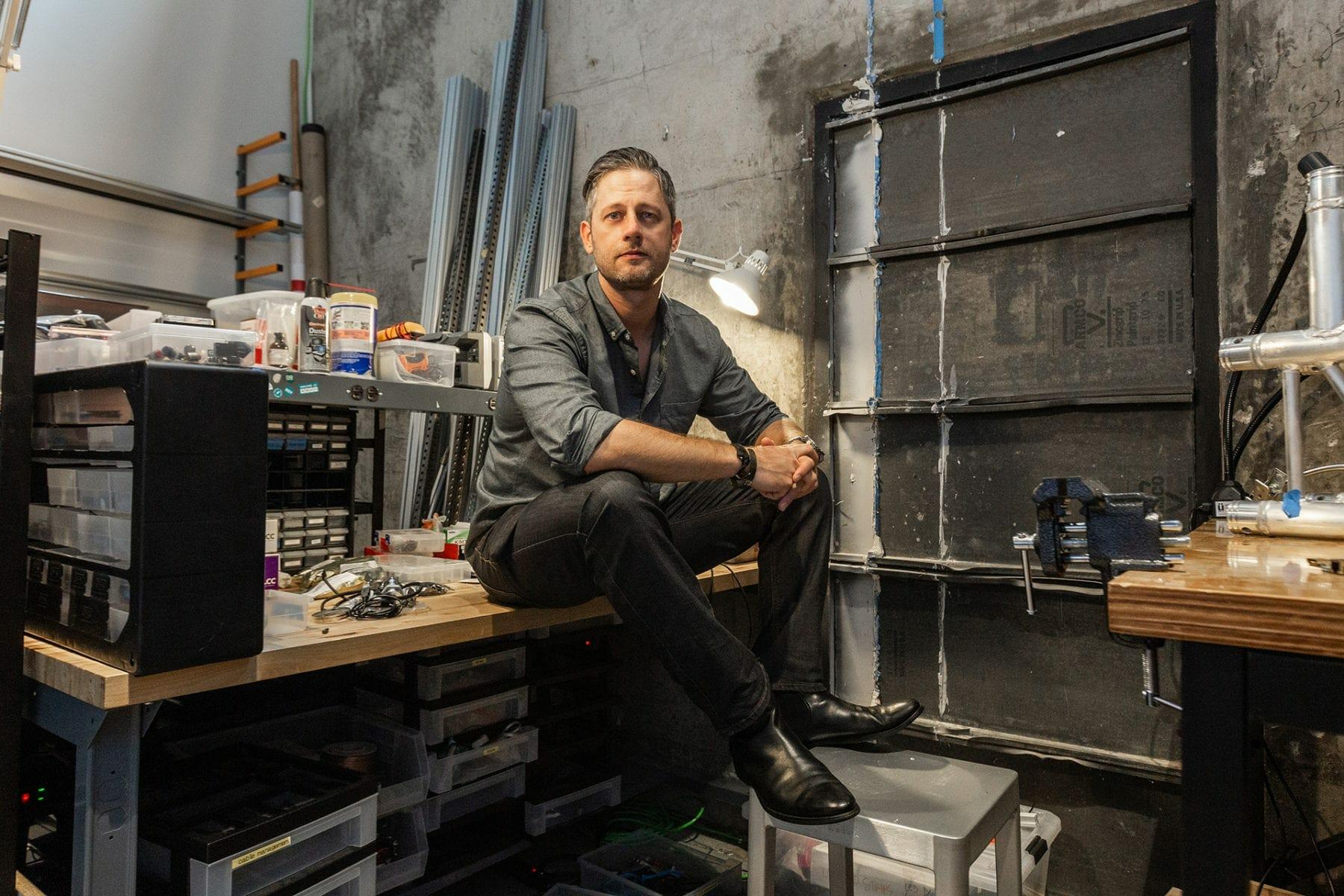 Joel Krieger takes a break in his Second Story lab.