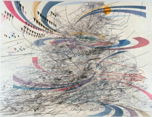 Julie Mehretu: Highlife (of Graceland after C. Abani), 2006. Ink and acrylic on canvas.