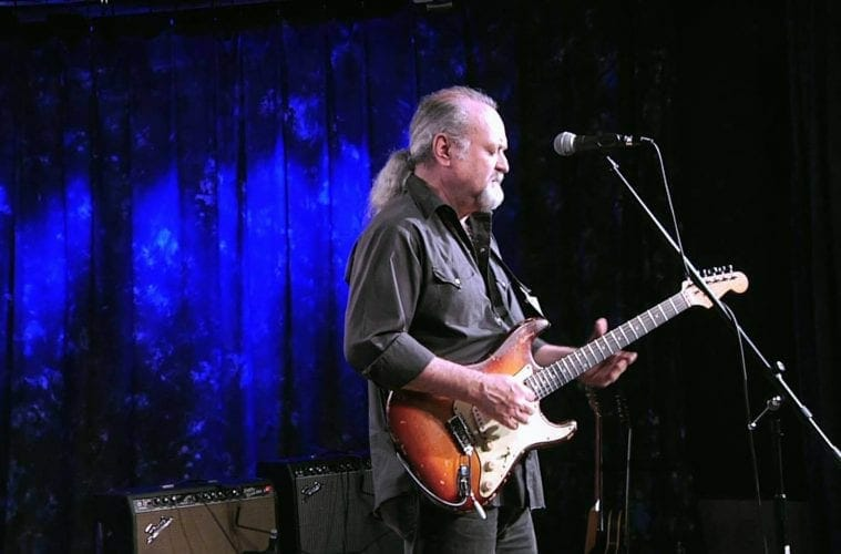Tinsley Ellis plays a Fender Stratocaster.