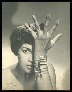 "Peter Basch: Model wearing ""Modern Cuff"" bracelet, c. 1948. Courtesy of Brooklyn Museum."