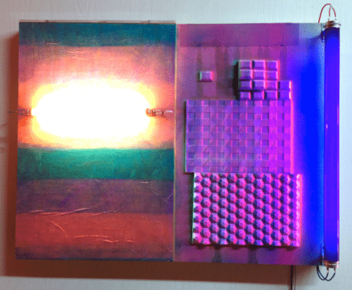 "Derek Larsen: ""Nonline."" Wood panel, fluorescent light, black light, paper, hydrocal, acrylic paint."