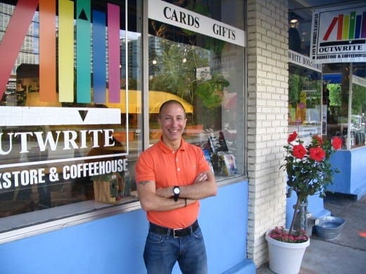 Philip Rathshoon outside his now defunct Outwrite bookstore