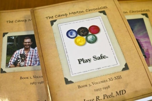 Activist Jesse Peel's book <i>The Camp Merton Chronicles</i> recounts the AIDS epidemic in Atlanta, the lives of those who died, the friendships and fundraisers.  MARBL, Emory University. (Photo by Bryan Meltz)
