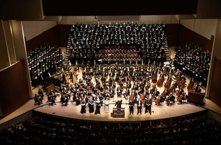 The Atlanta Symphony Orchestra and Chorus, along with other singers, crowd onto stage for Mahler's Eighth.