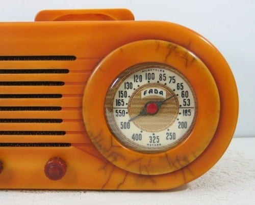 Bakelite, a plastic  resin,was commonly used for radio cabinets n the 30s and 40s because it wouldn't burn up if the tubes inside it exploded. Nifty-looikng, too.