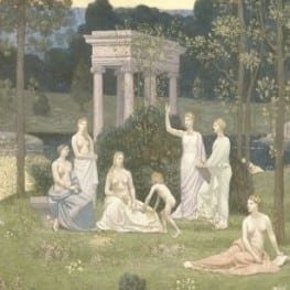 Detail of Puvis de Chavannes' painting, The Sacred Grove, Beloved of the Arts and the Muses, 1884-8.