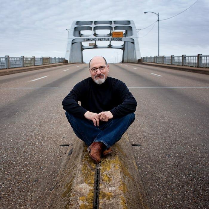 Photographer Jerry Siegel on the Edmund Pettus Bridge.