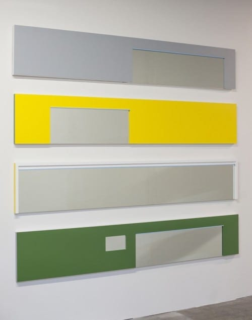 Scott Ingram: Case Study #9, 2013, latex, tractor enamels, MDF, wood, mirror.
