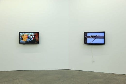 Jerald Holmberg, details of installation. Left: CNN Names with Descriptions, 2014, 12:16 min, single-channel video with audio. Right: Squirrel Basking, 2015, 5:42 min, single-channel video with audio.
