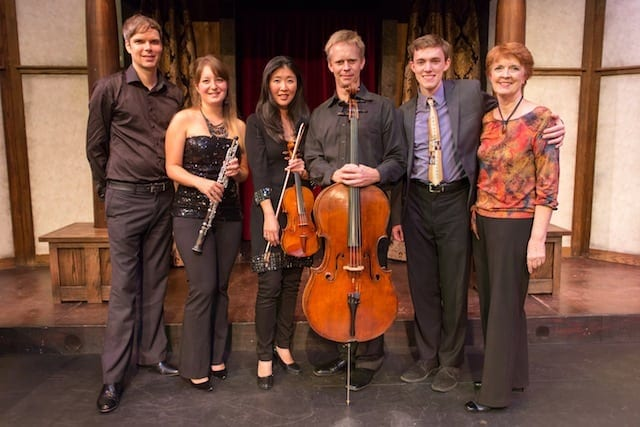 Zoll and Paula Peace (far right) with the musicians who performed his work: (L-R) Tim Whitehead, Elizabeth Koch Tiscione, Helen Kim and Brad Ritchie. (Photo by Tim Redman)