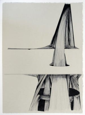 Gyun Hur: A Systematic Fall No. 1, 2013. Pen and ink on paper, 15 x 11 inches.