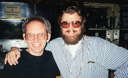 Author Peter Guralnick left) with Phillips in 1999. courtesy Sam Phillips Family.