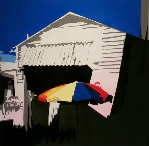 "William Mize: ""Umbrella""   Acrylic on wood"