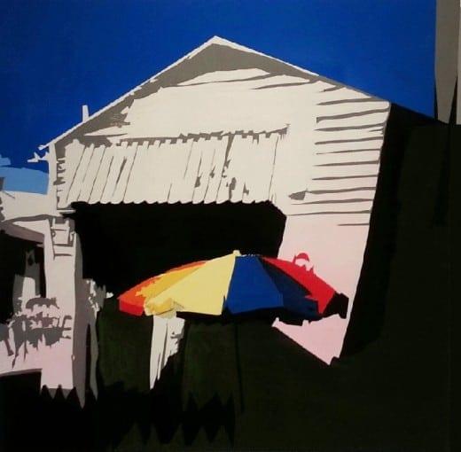 "William Mize: ""Umbrella""   Acrylic on wood"