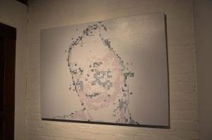 "Bojana Ginn: ""Digital Madonna,"" (2016) oil on canvas, 36"" x 48."" Image courtesy Whitespace Gallery."