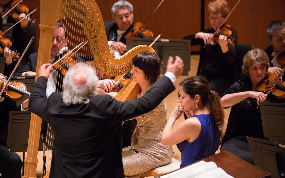 ASO principals Elisabeth Remy Johnson on harp and Christina Smith on flute.