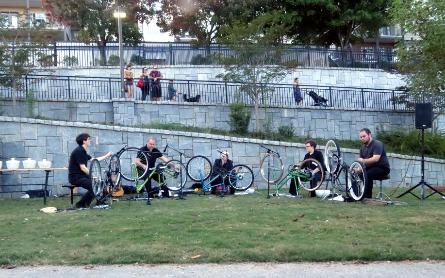 Bent Frequency used bicycles as musical instruments in one performance. (Photo by Mark Gresham)