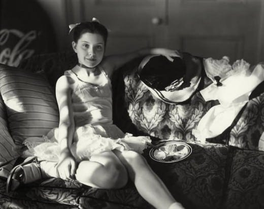 """Sally Mann: Untitled from the """"At Twelve"""" Series (Lithe and the Birthday Cake), 1983-1985. Image copyright of the artist and courtesy of Gagosian Gallery and Jackson Fine Art."""