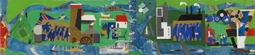 Romare Bearden: Pittsburgh Recollections, 1984, collage on fiberboard. © Romare Bearden Estate / Licensed by VAGA NY, NY.
