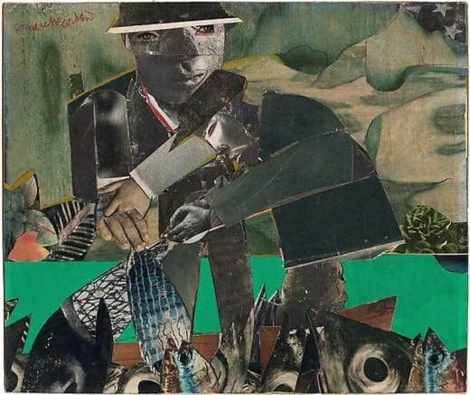 Romare Bearden: Fishing and Crabbing, Three Mile Creek, c. 1965, collage and colored pencil on board 9.75 x 11.5   © Romare Bearden Estate / Licensed by VAGA NY, NY.