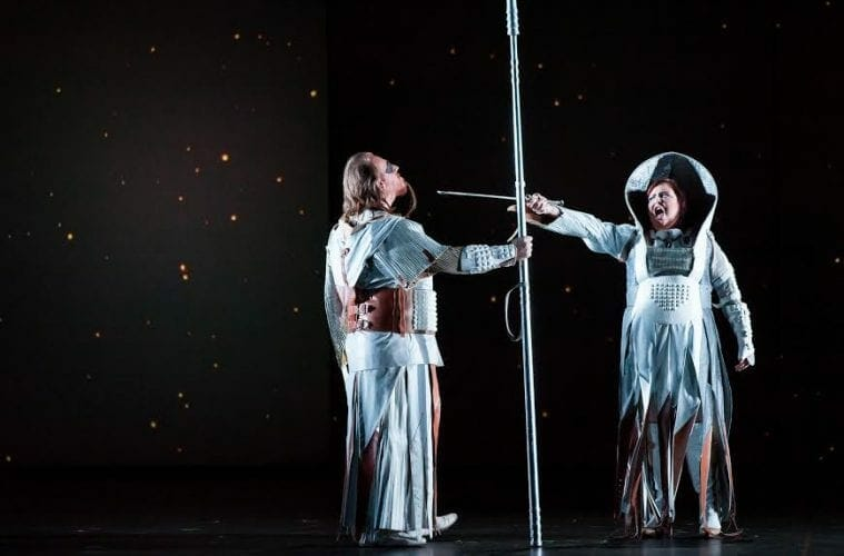 "Rome native and opera star Jamie Barton (right) in the Houston Grand Opera's 2015 production of ""Die Walküre."""