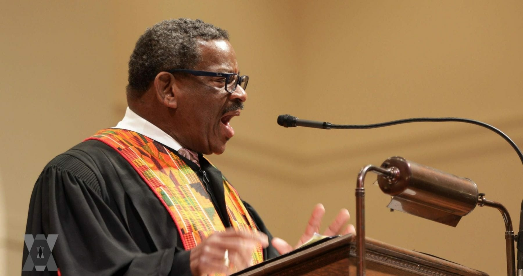 The Rev. Dwight Andrews in the pulpit of his church.