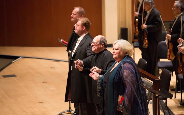 Stark (from left to right), Skelton, Spano and Blythe take a bow at the end of Act II.