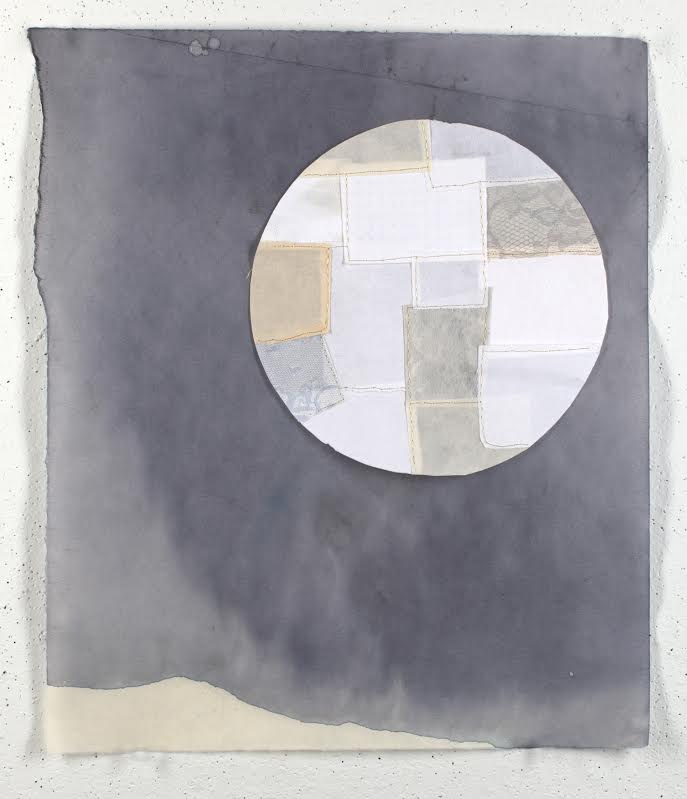 Cassidy Russell:  fixing the moon, 2014, inkwash, embroidery, monoprint, handmade paper.