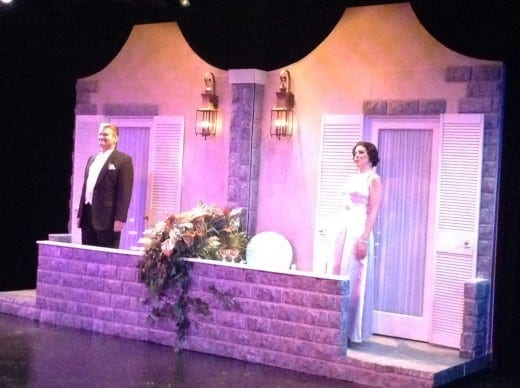 "Mark Kincaid and Tess Malis Kincaid in Stage Door Players' ""Private Lives,"" on stage through Feb. 8.  (Photo Courtesy Stage Door Players)"