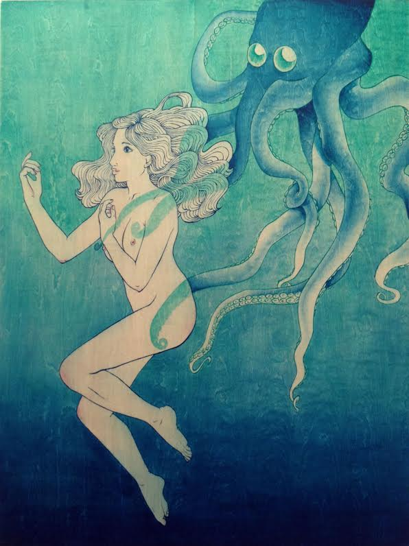 """Chey Diehl: Come Hither,"""" acrylic on panel."""