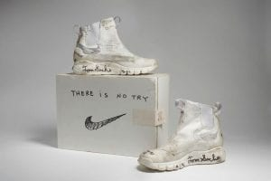 Nike x Tom Sachs NikeCraft Lunar Underboot Aeroply Experimentation Research Boot Prototype, 2008-12 Collection of the artist Courtesy American Federation of Arts.