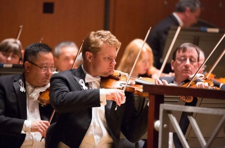 The Atlanta Symphony Orchestra's David Couchern performs.