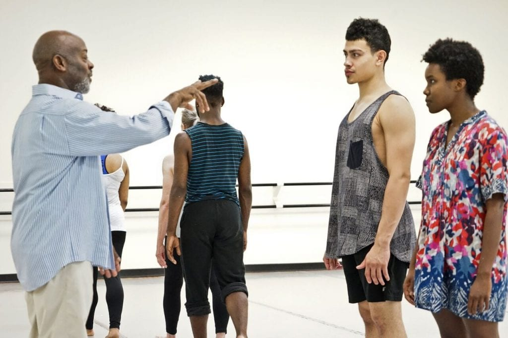 Sallid works with dancers Daniel Lopez and Anicka Austin. (Photo by Morgan Carlisle)