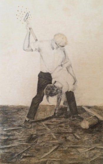 "Christian Bradley West: The Magic Hatchet, 2015, graphite, acrylic, ink on paper, 3.5""x4"""