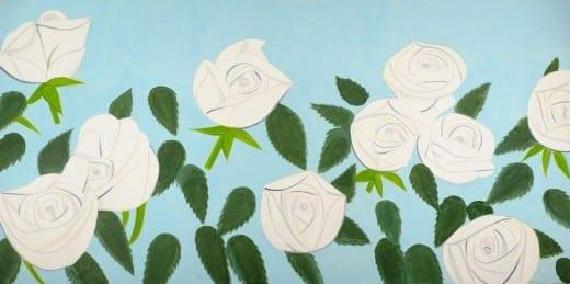 Alex Katz: White Roses 9, 2012, o Oil on linen, 108 x 216 inches. (Photo by Paul Takeuchi. © Alex Katz/Licensed by VAGA, New York, NY.)